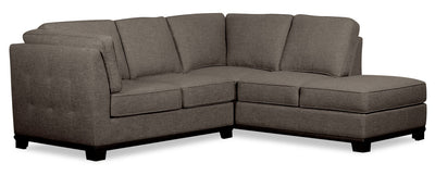 Oakdale 2-Piece Linen-Look Fabric Right-Facing Twin-Size Sofa Bed Sectional - Charcoal|Sofa-lit simple sectionnel de droite Oakdale 2 pièces en tissu d'apparence lin - anthracite|OK2CCRT2