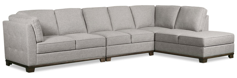 Oakdale 4-Piece Linen-Look Fabric Right-Facing Sectional - Light Grey|Sofa sectionnel de droite Oakdale 4 pièces en tissu d'apparence lin - gris pâle