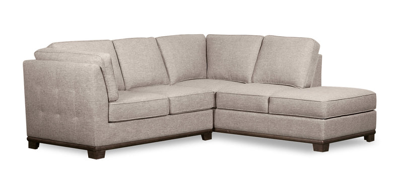 Oakdale 2-Piece Linen-Look Fabric Right-Facing Twin-Size Sofa Bed Sectional - Mushroom