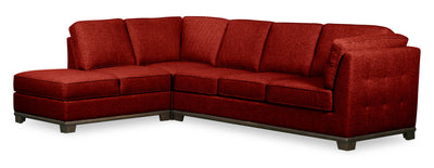 Oakdale 2-Piece Linen-Look Fabric Left-Facing Queen-Size Sofa Bed Sectional - Red|Grand sofa-lit sectionnel de gauche Oakdale 2 pièces en tissu d'apparence lin - rouge|OK2RDLQ2
