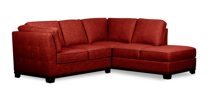 Oakdale 2-Piece Linen-Look Fabric Right-Facing Twin-Size Sofa Bed Sectional - Red