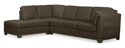 Oakdale 2-Piece Linen-Look Fabric Left-Facing Queen-Size Sofa Bed Sectional - Tobacco|Grand sofa-lit sectionnel de gauche Oakdale 2 pièces en tissu d'apparence lin - tabac|OK2TBLQ2