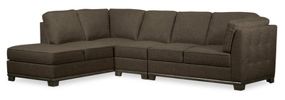 Oakdale 3-Piece Linen-Look Fabric Left-Facing Sectional - Tobacco|Sofa sectionnel de gauche Oakdale 3 pièces en tissu d'apparence lin - tabac|OK2TBLS3