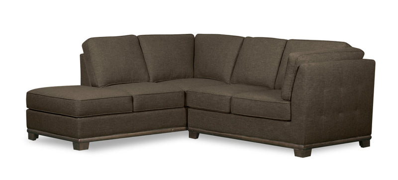 Oakdale 2-Piece Linen-Look Fabric Left-Facing Twin-Size Sofa Bed Sectional - Tobacco