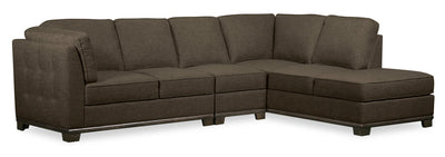 Oakdale 3-Piece Linen-Look Fabric Right-Facing Sectional - Tobacco|Sofa sectionnel de droite Oakdale 3 pièces en tissu d'apparence lin - tabac|OK2TBRS3