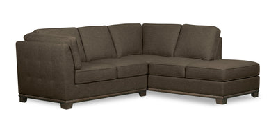 Oakdale 2-Piece Linen-Look Fabric Right-Facing Twin-Size Sofa Bed Sectional - Tobacco|Sofa-lit simple sectionnel de droite Oakdale 2 pièces en tissu d'apparence lin - tabac|OK2TBRT2