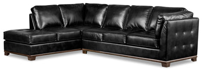 Oakdale 2-Piece Leather-Look Fabric Left-Facing Queen-Size Sofa Bed Sectional - Black|Grand sofa-lit sectionnel de gauche Oakdale 2 pièces en tissu d'apparence cuir - noir|OKLBKLQ2