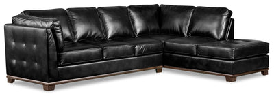 Oakdale 2-Piece Leather-Look Fabric Right-Facing Queen-Size Sofa Bed Sectional - Black|Grand sofa-lit sectionnel de droite Oakdale 2 pièces en tissu d'apparence cuir - noir|OKLBKRQ2