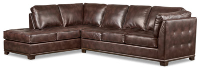 Oakdale 2-Piece Leather-Look Fabric Left-Facing Queen-Size Sofa Bed Sectional - Brown|Grand sofa-lit sectionnel de gauche Oakdale 2 pièces en tissu d'apparence cuir - brun|OKLBRLQ2