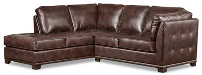 Oakdale 2-Piece Leather-Look Fabric Left-Facing Twin-Size Sofa Bed Sectional - Brown|Sofa-lit simple sectionnel de gauche Oakdale 2 pièces en tissu d'apparence cuir - brun|OKLBRLT2