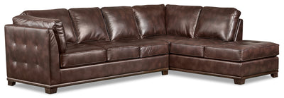 Oakdale 2-Piece Leather-Look Fabric Right-Facing Queen-Size Sofa Bed Sectional - Brown|Grand sofa-lit sectionnel de droite Oakdale 2 pièces en tissu d'apparence cuir - brun|OKLBRRQ2