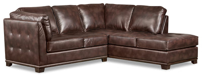 Oakdale 2-Piece Leather-Look Fabric Right-Facing Twin-Size Sofa Bed Sectional - Brown|Sofa-lit simple sectionnel de droite Oakdale 2 pièces en tissu d'apparence cuir - brun|OKLBRRT2