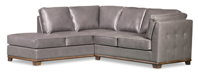 Oakdale 2-Piece Leather-Look Fabric Left-Facing Sectional - Grey - {Contemporary} style Sectional in Grey {Pine}, {Plywood}