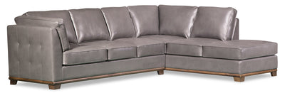 Oakdale 2-Piece Leather-Look Fabric Right-Facing Queen-Size Sofa Bed Sectional - Grey|Grand sofa-lit sectionnel de droite Oakdale 2 pièces en tissu d'apparence cuir - gris|OKLGYRQ2