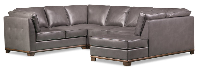 Oakdale 4-Piece Leather-Look Fabric Right-Facing Sectional - Grey - {Contemporary} style Sectional in Grey {Pine}, {Plywood}