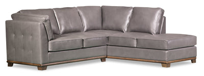 Oakdale 2-Piece Leather-Look Fabric Right-Facing Twin-Size Sofa Bed Sectional - Grey|Sofa-lit simple sectionnel de droite Oakdale 2 pièces en tissu d'apparence cuir - gris|OKLGYRT2