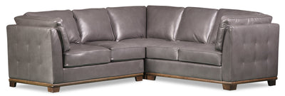 Oakdale 3-Piece Leather-Look Fabric Sectional - Grey|Sofa sectionnel Oakdale 3 pièces en tissu d'apparence cuir - gris|OKLGYSEC
