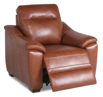 Olan Genuine Leather Power Recliner with Power Headrest - Brown