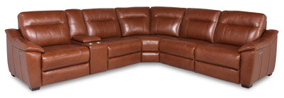 Olan 6-Piece Genuine Leather Power Reclining Sectional with Power Headrest - Brown