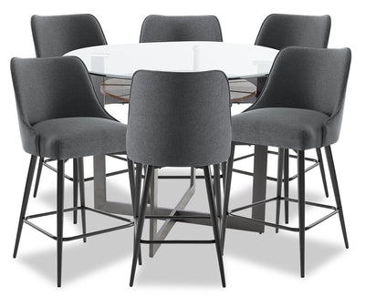Olson 7-Piece Counter-Height Dining Room Set - Grey|Ensemble de salle à manger Olson 7 pièces de hauteur comptoir - gris|OLSOGCP7