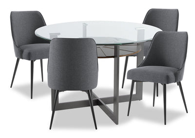 Olson 5-Piece Dining Room Set - Grey - {Modern} style Dining Room Set in Grey {Metal}, {Medium Density Fibreboard (MDF)}