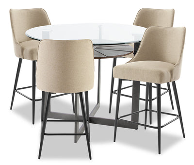 Olson 5-Piece Counter-Height Dining Room Set - Taupe|Ensemble de salle à manger Olson 5 pièces de hauteur comptoir - taupe|OLSOTCP5