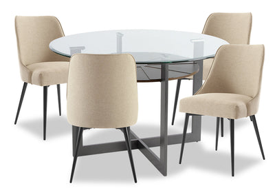 Olson 5-Piece Dining Room Set - Taupe - {Modern} style Dining Room Set in Taupe {Metal}, {Medium Density Fibreboard (MDF)}
