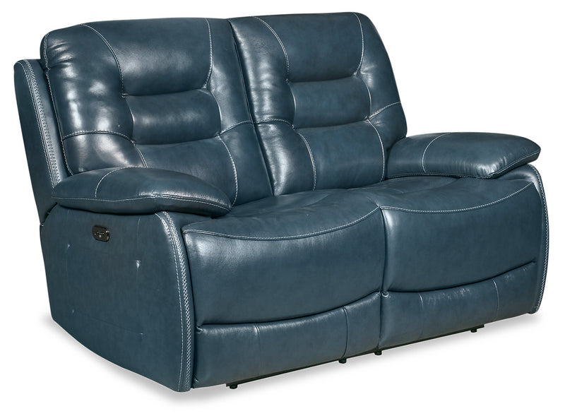 Orry Genuine Leather Power Reclining Loveseat With Power
