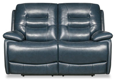 Orry Genuine Leather Power Reclining Loveseat with Power Headrest - Blue