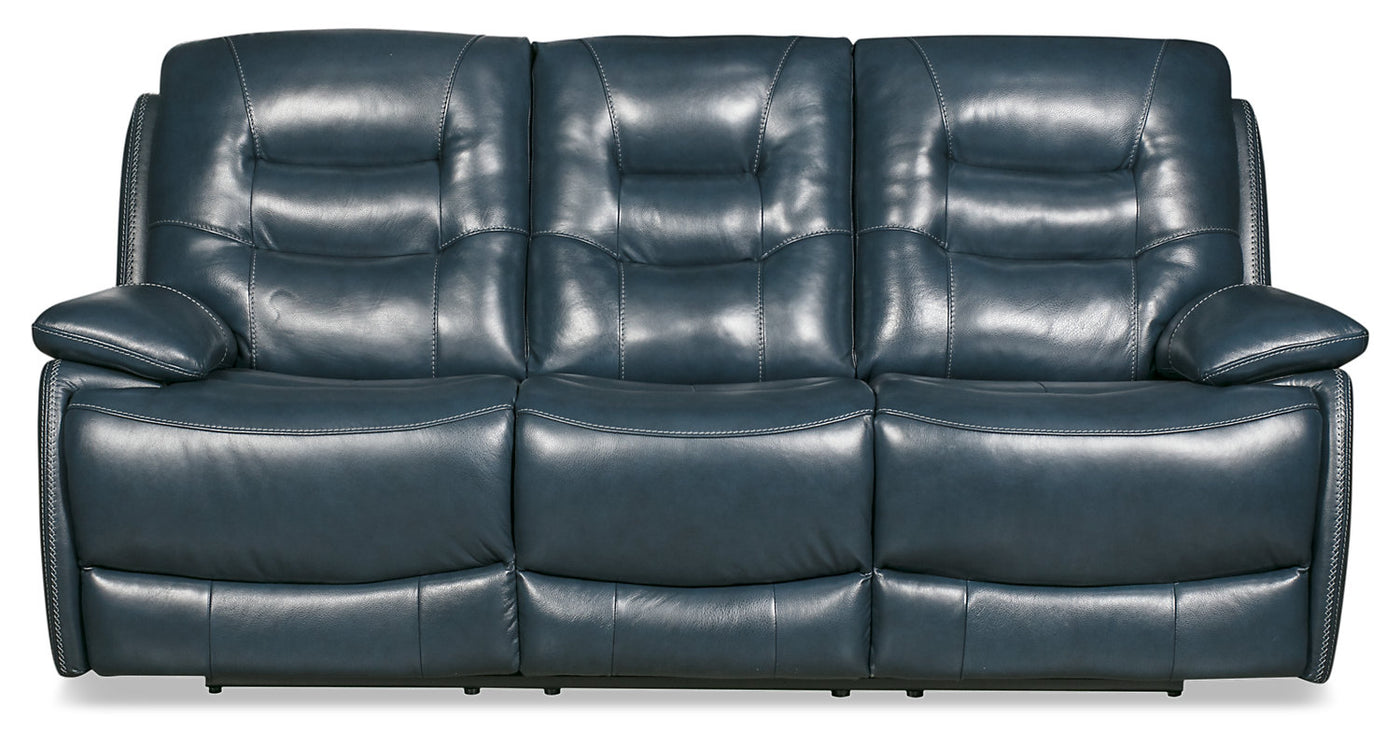 Picture of: Orry Genuine Leather Power Reclining Sofa With Power Headrest Blue The Brick