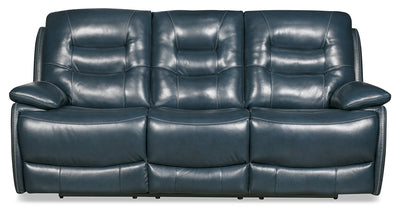 Orry Genuine Leather Power Reclining Sofa with Power Headrest - Blue