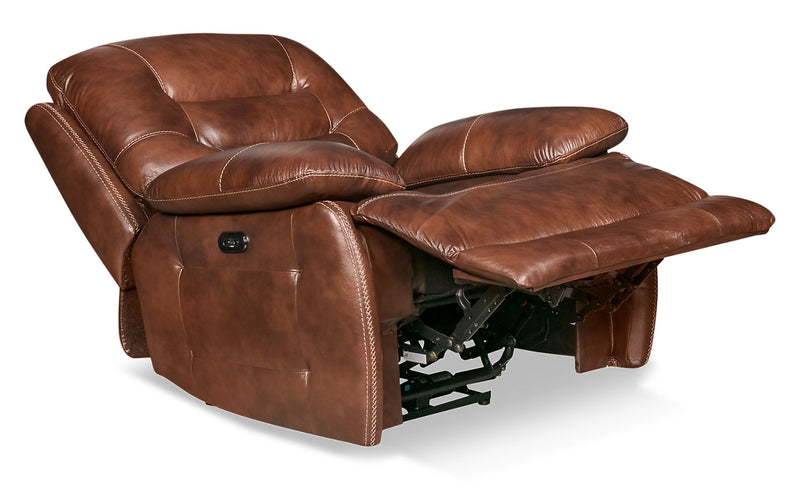 Orry Genuine Leather Power Recliner with Power Headrest - Brown