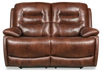 Orry Genuine Leather Power Reclining Loveseat with Power Headrest - Brown