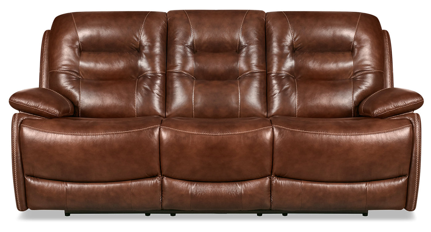 Orry Genuine Leather Power Reclining Sofa with Power Headrest - Brown