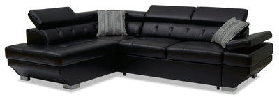 Otto 2-Piece Leather-Look Fabric Left-Facing Sleeper Sectional - Black