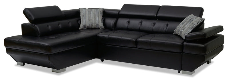 Otto 2-Piece Leather-Look Fabric Left-Facing Sleeper Sectional - Black|Sofa-lit sectionnel de gauche Otto 2 pièces en tissu d'apparence cuir - noir