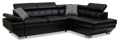 Otto 2-Piece Leather-Look Fabric Right-Facing Sleeper Sectional – Black|Sofa-lit sectionnel de droite Otto 2 pièces en tissu d'apparence cuir - noir|OTTBLRS2