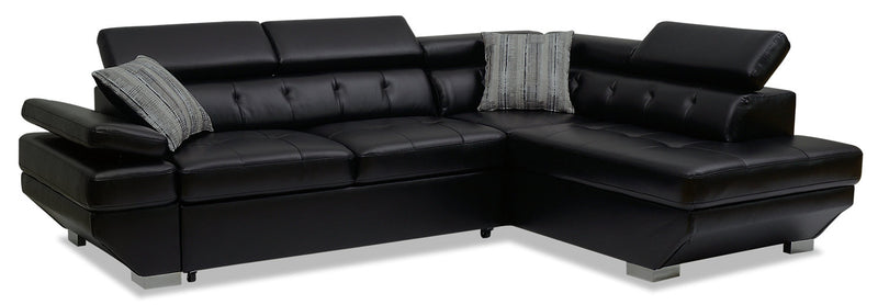 Otto 2-Piece Leather-Look Fabric Right-Facing Sleeper Sectional – Black