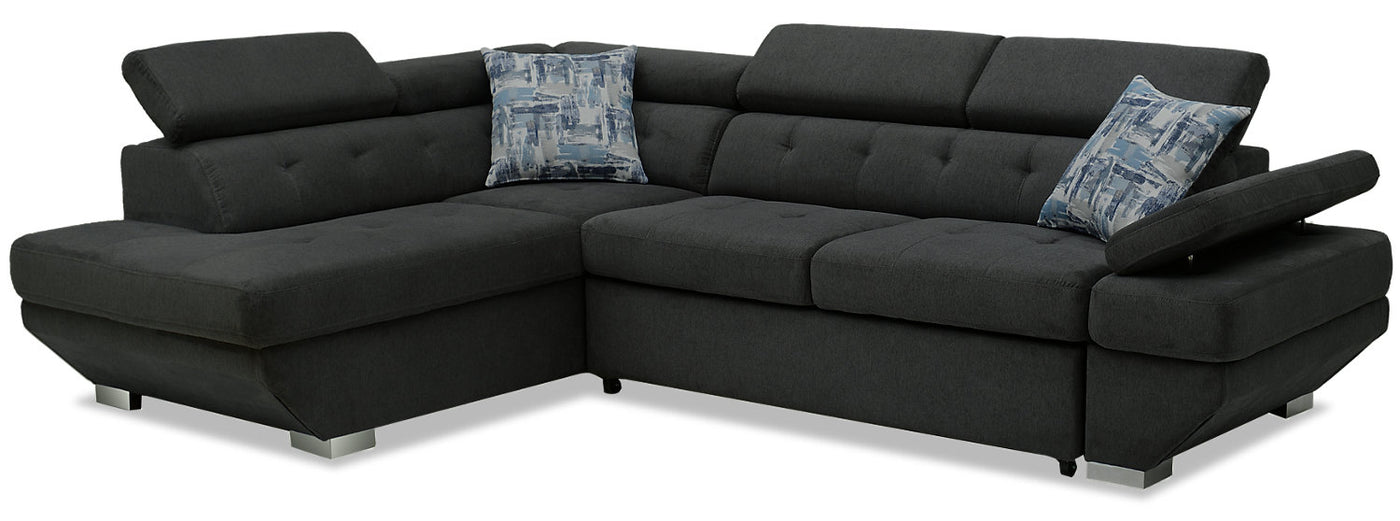 Otto 2-Piece Chenille Left-Facing Sleeper Sectional - Pewter