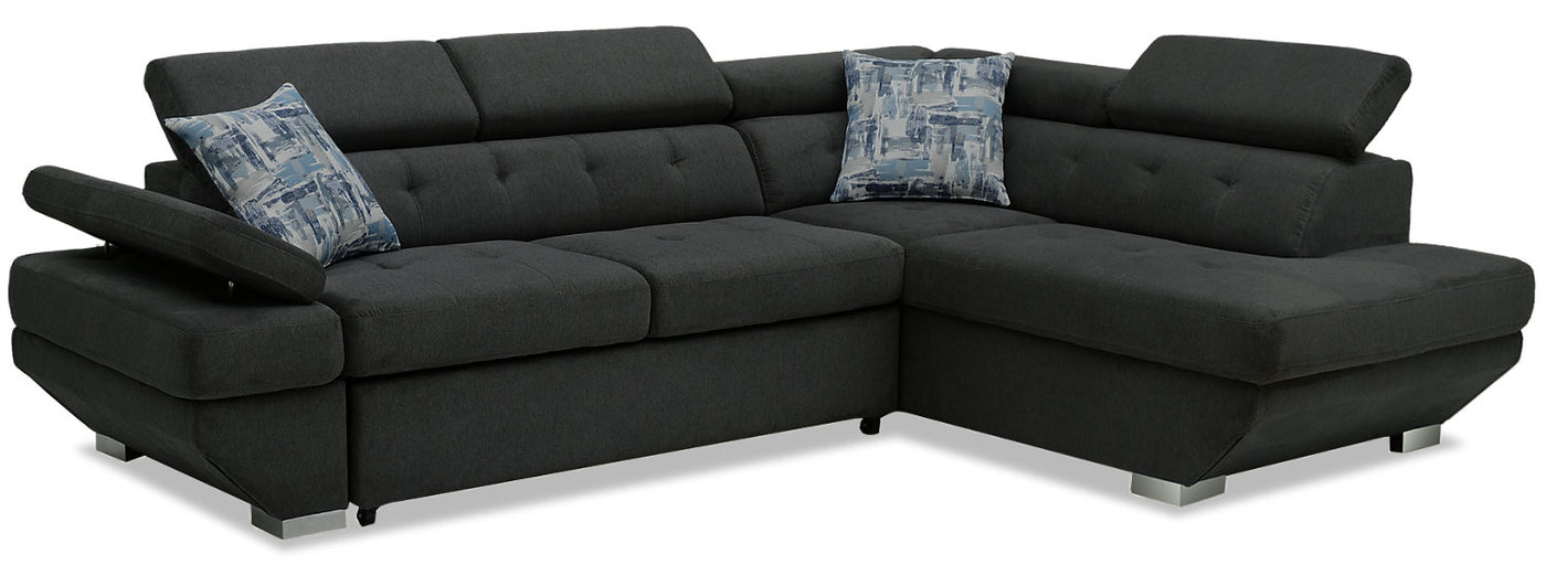 Otto 2-Piece Chenille Right-Facing Sleeper Sectional – Pewter