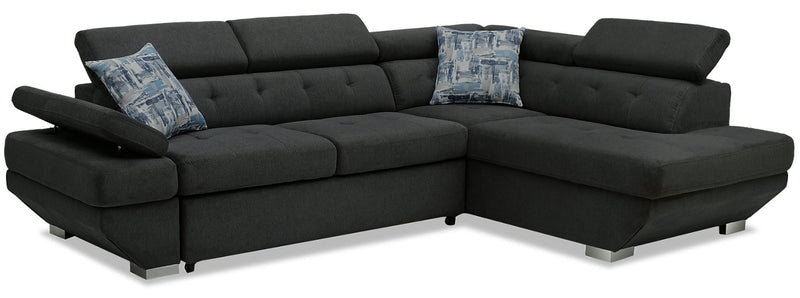 Otto 2-Piece Chenille Right-Facing Sleeper Sectional – Pewter|Sofa-lit sectionnel de droite Otto 2 pièces en chenille - étain