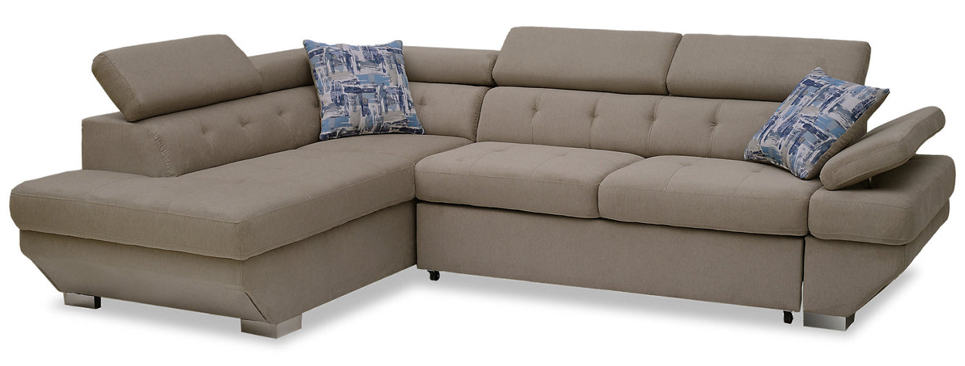 Otto 2 Piece Chenille Left Facing Sleeper Sectional