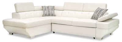 Otto 2-Piece Leather-Look Fabric Left-Facing Sleeper Sectional - Snow|Sofa-lit sectionnel de gauche Otto 2 pièces en tissu d'apparence cuir - neige|OTTSNLS2
