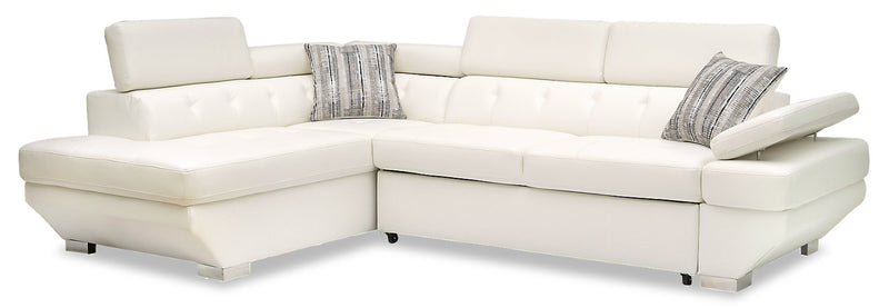Otto 2-Piece Leather-Look Fabric Left-Facing Sleeper Sectional - Snow|Sofa-lit sectionnel de gauche Otto 2 pièces en tissu d'apparence cuir - neige