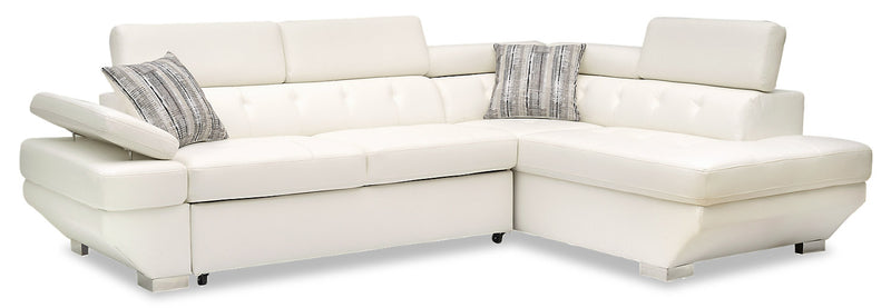 Otto 2-Piece Leather-Look Fabric Right-Facing Sleeper Sectional - Snow|Sofa-lit sectionnel de droite Otto 2 pièces en tissu d'apparence cuir - neige