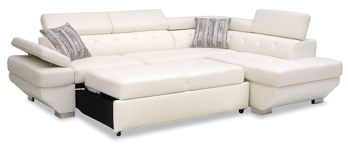Otto 2-Piece Leather-Look Fabric Right-Facing Sleeper Sectional - Snow