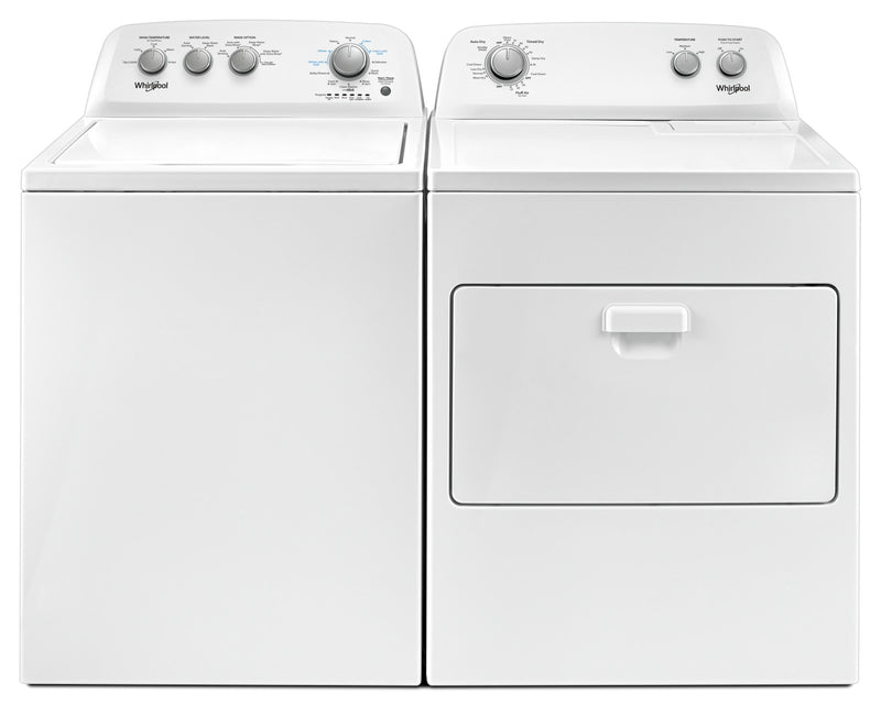Whirlpool 4.4 Cu. Ft. I.E.C. Top-Load Washer and 7.0 Cu. Ft. Gas Dryer – White|Laveuse à chargement par le haut de 4,4 pi³ et sécheuse à gaz de 7,0 pi³ de Whirlpool - blanches|WHTL485G