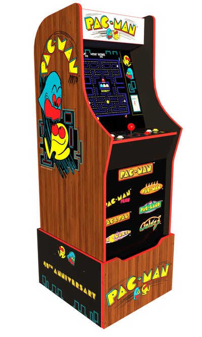 Arcade1Up 40th Anniversary Edition Pac-Man Arcade Machine with Licensed Riser|Machine de jeu d'arcade Pac-Man édition 40e anniversaire Arcade1Up avec plateforme|PACMAN40