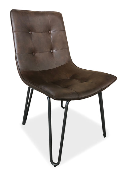 Page Dining Chair - Brown - {Industrial}, {Modern} style Accent Dining Chair in Brown {Steel}