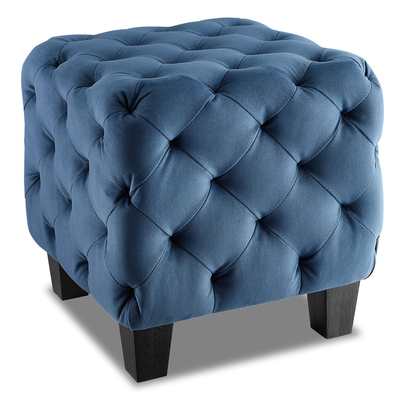 Palm Velvet Ottoman Navy Blue Pouf Palm En Velours
